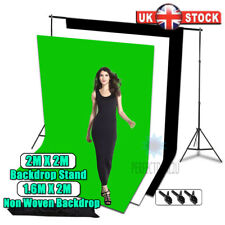 1.6x2m White Black Green Non Woven Backdrop With 2x2m Baackground Stand Kit UK
