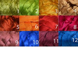 100 % Tussah-Seide Kammzug farbig, Seide für filzen und spinnen, 50 g im Band