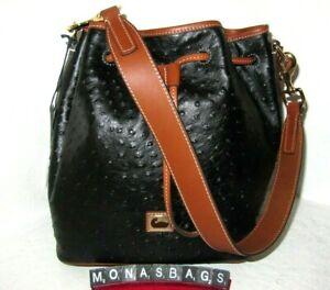 Dooney & Bourke Large Black Ostrich Leather Drawstring Shoulder Handbag NWT $288