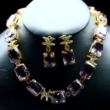 NATURAL PURPLE & YELLOW AMETRINE & SAPPHIRE NECKLACE WITH EARRINGS 925 SILVER
