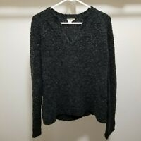 J.Crew Sweater Womens Large Pullover Wool Blend Fuzzy V Neck Gray Stretchy