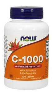 NOW Foods Vitamin C-1000 Sustained Release 100 Tablets 3/2023EXP