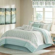 NWT $300-Madison Park Green White 9 Pc Comforter Bedding Set, 2 Valances-King/CK