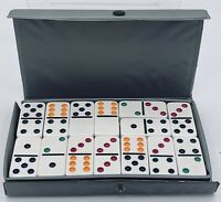 DOUBLE SIX DOMINOES by CARDINAL Full Set COLOR Dot Domino GRAY Case NEVER USED