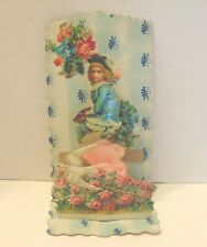 Antique Valentine, Girl-Bird-Roses. Fold out. Embossed. Honey comb. 1920's
