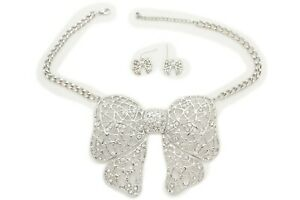 Women Silver Metal Chain Fashion Jewelry Set Necklace Bow Pendant Fancy Party