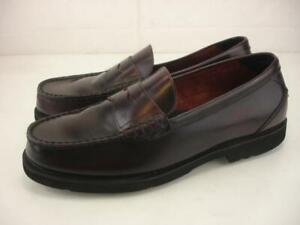 Men's sz 10.5 M Rockport Shakespeare Circle Burgundy Penny Loafers Shoes Slip-On