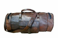 Men's duffel genuine Leather vintage Holiday travel gym weekend overnight bag