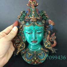 Tibet Turquoise Coral Green Tara Buddha Dragon Head Mask Wall hanging Statue