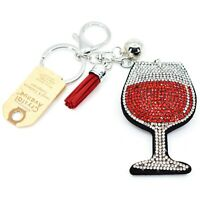 Pave Crystal Accent 3D Stuffed Pillow Wine Glass Keychain Key Chain