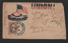 """$Union Patriotic cover """"Our country"""" 58th Reg. Indiana Globe+Flag, Nashville"""