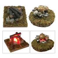 1:12 Dollhouse Mini Camping Kitchen LED Bonfire Garden Decor Accessory