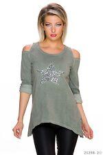 Sexy Longsleeve Shirt Pulli Pailletten Stern Schulter Cut Out Oliv 34 36 38