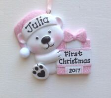 Personalized Baby Bear Girl's First Christmas Ornament  Newborn Granddaughter