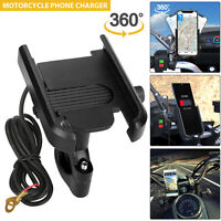 Motorcycle Bike Cell Phone Handlebar Mount Holder USB Charger Universal W/Switch