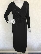 Fenn Wright Manson Wrap Dress/ Beads Embellished/ Size: UK 12