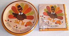 THANKSGIVING Paper Plates & Napkins  PILGRIM TURKEY