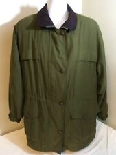 Gallery Womens Jacket Coat Green Large Full Zip & Buttons Parka Stryle Free Ship