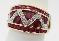 10k Yellow Gold Ruby and Diamond Band Ladies Ring
