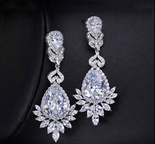 14k White Gold Over 2CT Pear & Marquise Cut Diamond Wedding Drop Dangle Earrings