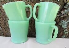 4 Fire King Jadeite Jadite Green D Handle Coffee Mugs