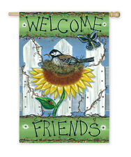 Spring Robin Welcome Garden Friends Bird Nest ladybug  Picket Fence Lg DS Flag