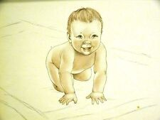 Lys Cassel RED HAIRED INFANT BABY BOY SMILING on BLANKET 1947 Vintage Art Matted