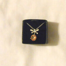Avon Dragonfly dance necklace pendant pink stone silver with extender NIB