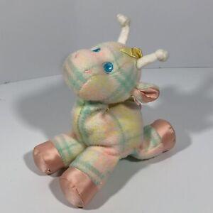 Vintage Playskool Blankies Snuzzle Giraffe Plaid Plush Lovey 1986 Hasbro USA