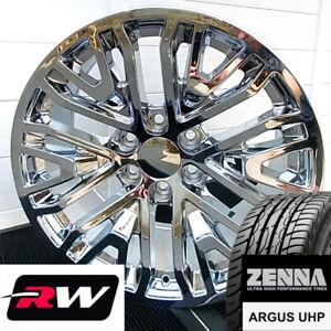 """22"""" Wheels and Tires for Cadillac Escalade Replica 2019 GM Accessory Chrome Rims"""