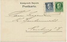 BAYERN 1918, König Ludwig III 7 ½ Pf und 2 ½ a. 2 Pf selt. Mif a. Kab.-Postkarte