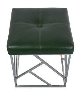 Indian Designer Handmade Stainless Steel Base with Green Leather Stool