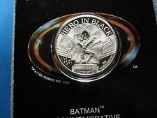 Batman Hero In Black 50Th Anniversary Dc Comic 1989 Vintage 999 Silver Coin 1074