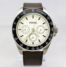 New Fossil BQ2202 Tachymeter Chronograph Silver, Brown Leather Strap Men Watch