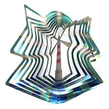 WorldaWhirl Whirligig 3D Lighthouse Wind Spinner Stainless Kinetic Patio Twister