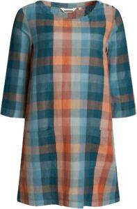 NEW Seasalt Linen Cotton Blend Glowing Sky Check Tunic Dress Size 8/28 RRP: £59