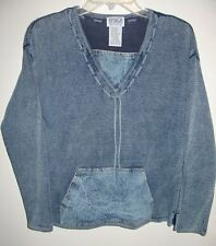 Womens M PBJ Blues Blue Knit Sweater w/ Denim Kangaroo Pocket acid wash XC