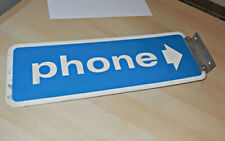vintage metal 2 sided pay telephone sign with flange attached / phone