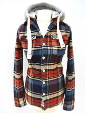 Ladies SUPERDRY Thick Heavy Lumberjack Check Hoodie Jacket Size Small #3864