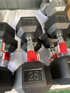 Weider 25 LB Dumbbells Set of 2 - 50lbs Total, Rubber Coated Hex Home Gym New