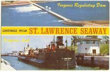 St Lawrence Seaway & Iroquois Dam & Locks Canada - vintage Mike Roberts postcard