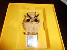 With Black Eyes On A Branch Lovely Gold Colour Seed Pearl Owl Brooch