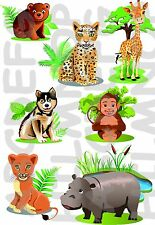 SET 7  ADESIVI FINESTRA ANIMALI GIUNGLA WINDOWS STICKERS VETRI GIRAFFA ORSETTO