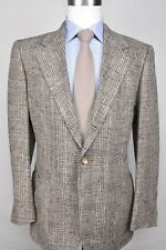 1970-80's Unbranded Light Brown Check 100% Silk 3/2 Roll Sport Coat Size: 39R