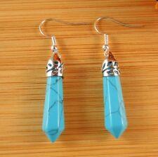 Turquoise Gemstone Hexagonal Point Dangle Fashion Earrings #B162