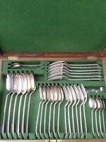 Good Stunning Antique Wm Hutton C1890 English Canteen Cutlery Set Oak Box/Key