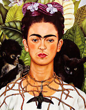Self Portrait with Necklace of Thorns A1 by Frida Kahlo Quality Canvas Print
