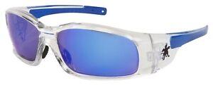 MCR Safety/Crews SR148B Clear Frame -Blue Diamond Mirror Safety Glasses