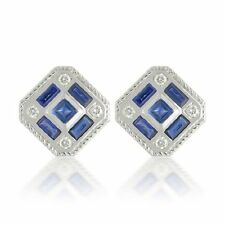 Natural Gem Stone Blue Sapphire & Cz 925 Sterling Silver Men's Cufflink Jewelry