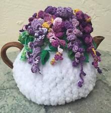 Handmade Crochet Tea Cozy Tea Cover Tea Warmer Wisteria Flowers White Base